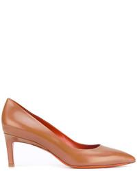 Zapatos de Tacón de Cuero Tabaco de Santoni