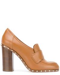 Zapatos de Tacón de Cuero Tabaco de Valentino