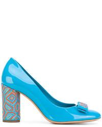 Zapatos de Tacón de Cuero Turquesa de Salvatore Ferragamo