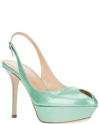 Zapatos de Tacón de Cuero Turquesa de Sergio Rossi