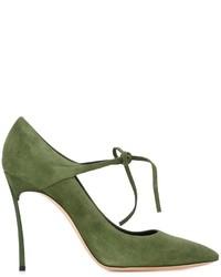 Zapatos de tacón de cuero verde oliva de Casadei