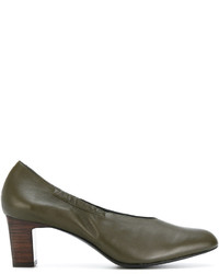 Zapatos de tacón de cuero verde oliva de Robert Clergerie