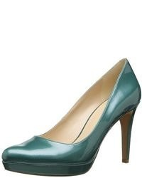 Zapatos de Tacón de Cuero Verde Oscuro