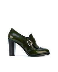 Zapatos de Tacón de Cuero Verde Oscuro de Church's