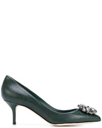Zapatos de Tacón de Cuero Verde Oscuro de Dolce & Gabbana
