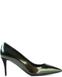 Zapatos de Tacón de Cuero Verde Oscuro de Giuseppe Zanotti