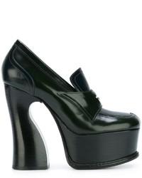 Zapatos de Tacón de Cuero Verde Oscuro de Maison Margiela