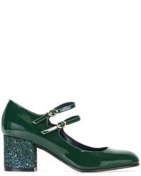 Zapatos de Tacón de Cuero Verde Oscuro de Pollini