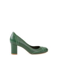 Zapatos de Tacón de Cuero Verde Oscuro de Sarah Chofakian