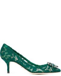 Zapatos de Tacón de Cuero Verdes de Dolce & Gabbana
