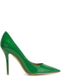 Zapatos de tacón de cuero verdes de Salvatore Ferragamo
