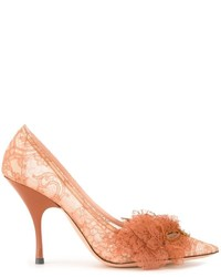 Zapatos de tacón de encaje marrón claro de Rochas