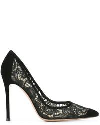 Zapatos de Tacón de Encaje Negros de Gianvito Rossi