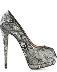 Zapatos de Tacón de Encaje Negros de Giuseppe Zanotti