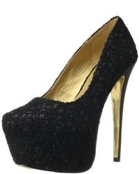 Zapatos de Tacón de Encaje Negros de Luichiny