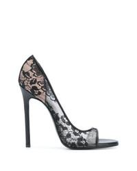 Zapatos de Tacón de Encaje Negros de Maison Ernest