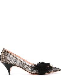 Zapatos de Tacón de Encaje Negros de Rochas