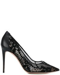 Zapatos de Tacón de Encaje Negros de Valentino
