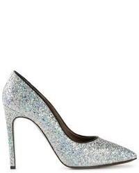 Zapatos de tacón de lentejuelas plateados