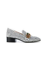 Zapatos de Tacón de Lentejuelas Plateados de Gucci