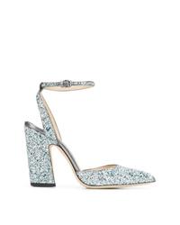Zapatos de tacón de lentejuelas plateados de Jimmy Choo