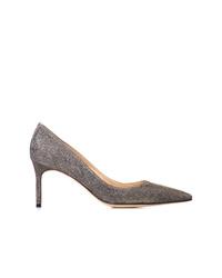 Zapatos de tacón de lentejuelas plateados de Manolo Blahnik