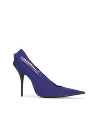 Zapatos de tacón de lona azul marino de Balenciaga