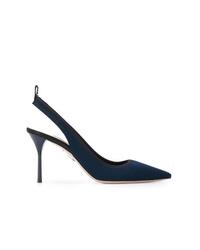 Zapatos de tacón de lona azul marino de Miu Miu
