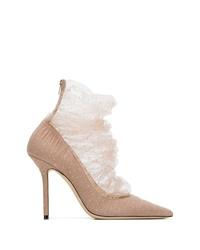 Zapatos de tacón de lona con adornos marrón claro de Jimmy Choo