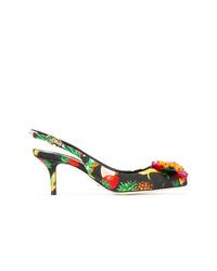 Zapatos de tacón de lona con print de flores negros de Dolce & Gabbana