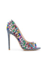 Zapatos de tacón de lona con tachuelas celestes de Gianni Renzi