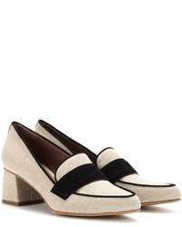 Zapatos de tacón de lona en beige