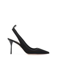 Zapatos de tacón de lona negros de Miu Miu