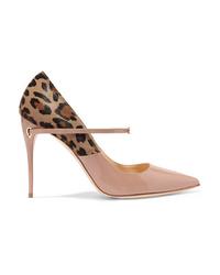 Zapatos de tacón de pelo de becerro de leopardo en beige
