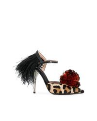 Zapatos de tacón de pelo de becerro de leopardo marrón claro de Giambattista Valli