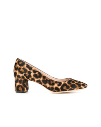 Zapatos de tacón de pelo de becerro de leopardo marrón claro de Loeffler Randall