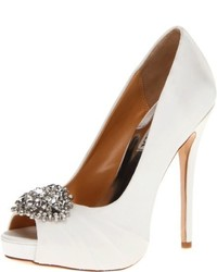 Zapatos de Tacón de Satén Blancos de Badgley Mischka