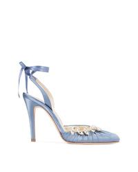 Zapatos de tacón de satén celestes de Sarah Flint