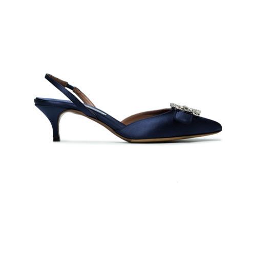 Zapatos de tacón de satén con adornos azul marino de Tabitha Simmons