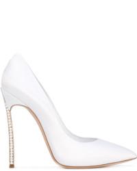 Zapatos de Tacón de Satén con Adornos Blancos de Casadei