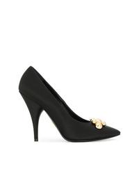 Zapatos de Tacón de Satén con Adornos Negros de Prada