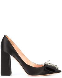 Zapatos de Tacón de Satén con Adornos Negros de Rochas