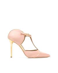 Zapatos de tacón de satén con recorte rosados de Malone Souliers