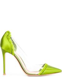 Zapatos de tacón de satén en amarillo verdoso de Gianvito Rossi