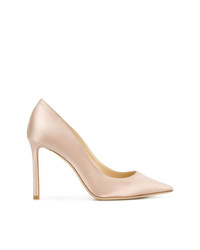 Zapatos de tacón de satén en beige de Jimmy Choo