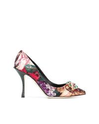 Zapatos de tacón de satén estampados en multicolor de Dolce & Gabbana