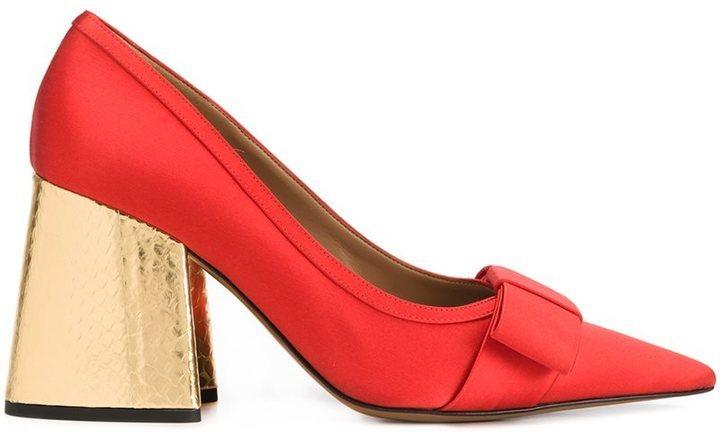 Zapatos de Tacón de Satén Gruesos Rojos de Marni