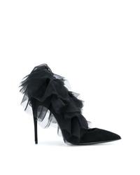 Zapatos de tacón de satén negros de Maison Ernest