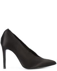 Zapatos de Tacón de Satén Negros de Pedro Garcia