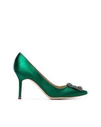 Zapatos de tacón de satén verdes de Manolo Blahnik